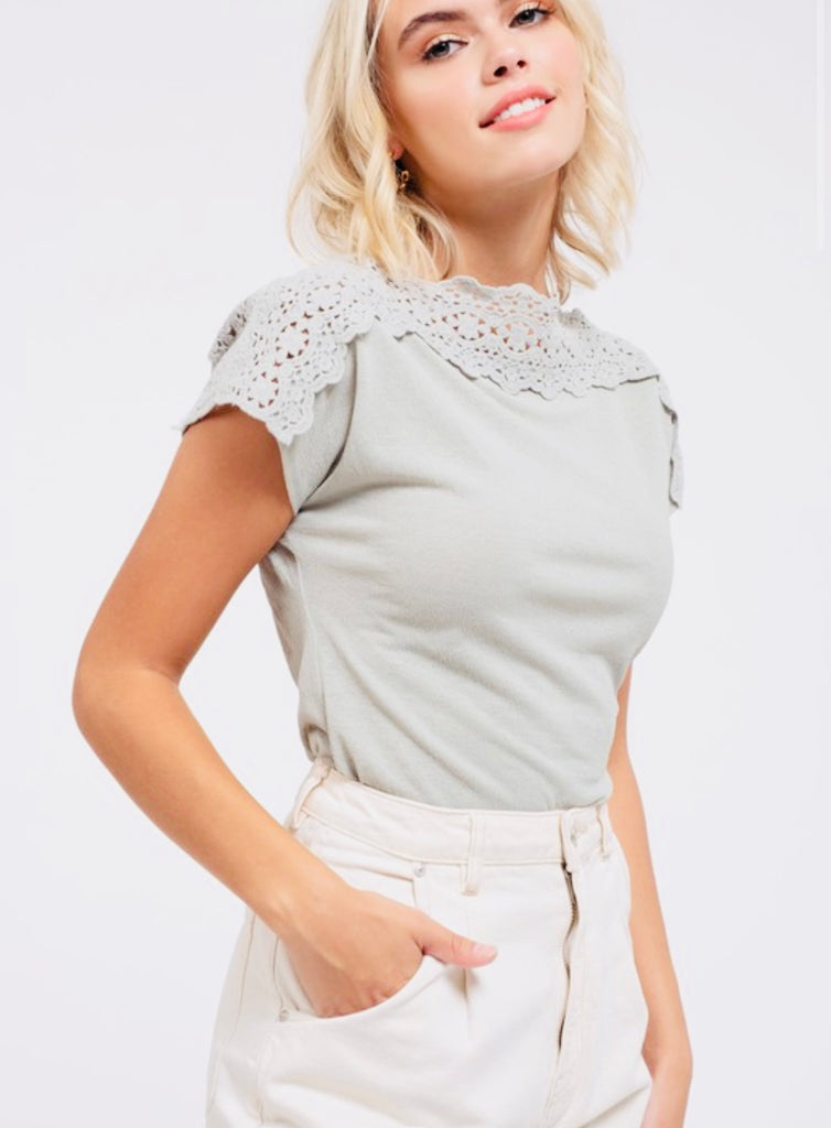 Lace Boatneck Yoke Cap Sleeve Top