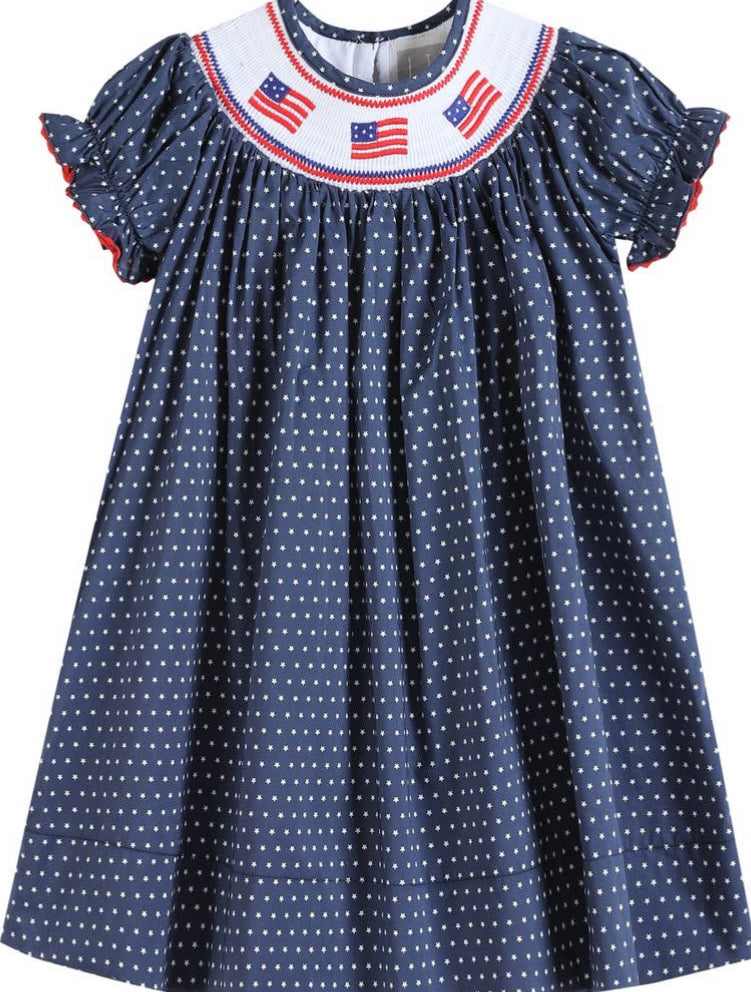 Red White and Blue Flag Smocked Dress