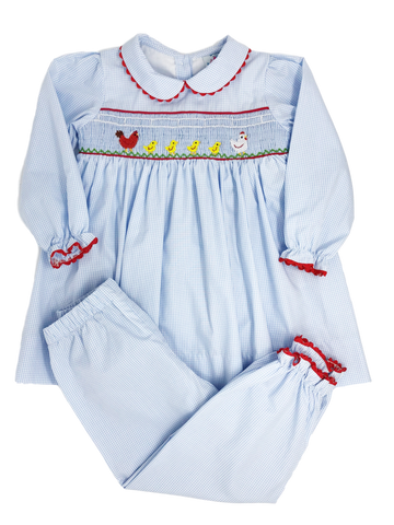 Farm Friends - Smocked Girls Pant Set