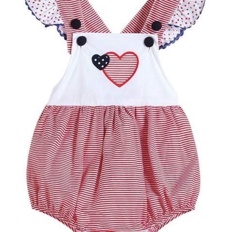 Red, White and Blue Gingham Heart Ruffle Bubble Romper
