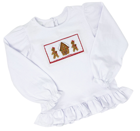 Girls Ruffle Trim Gingerbread Shirt