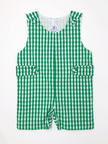 Green Gingham Check Boys Jon Jon