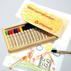 stockmar wax sticks 16 colours with wooden box