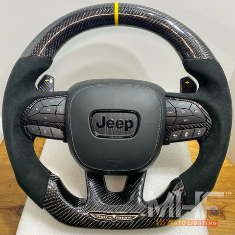 "2018-2020 Carbon ""Track Series"" Alcantara Yellow Accent TrackHawk Steering Wheel"