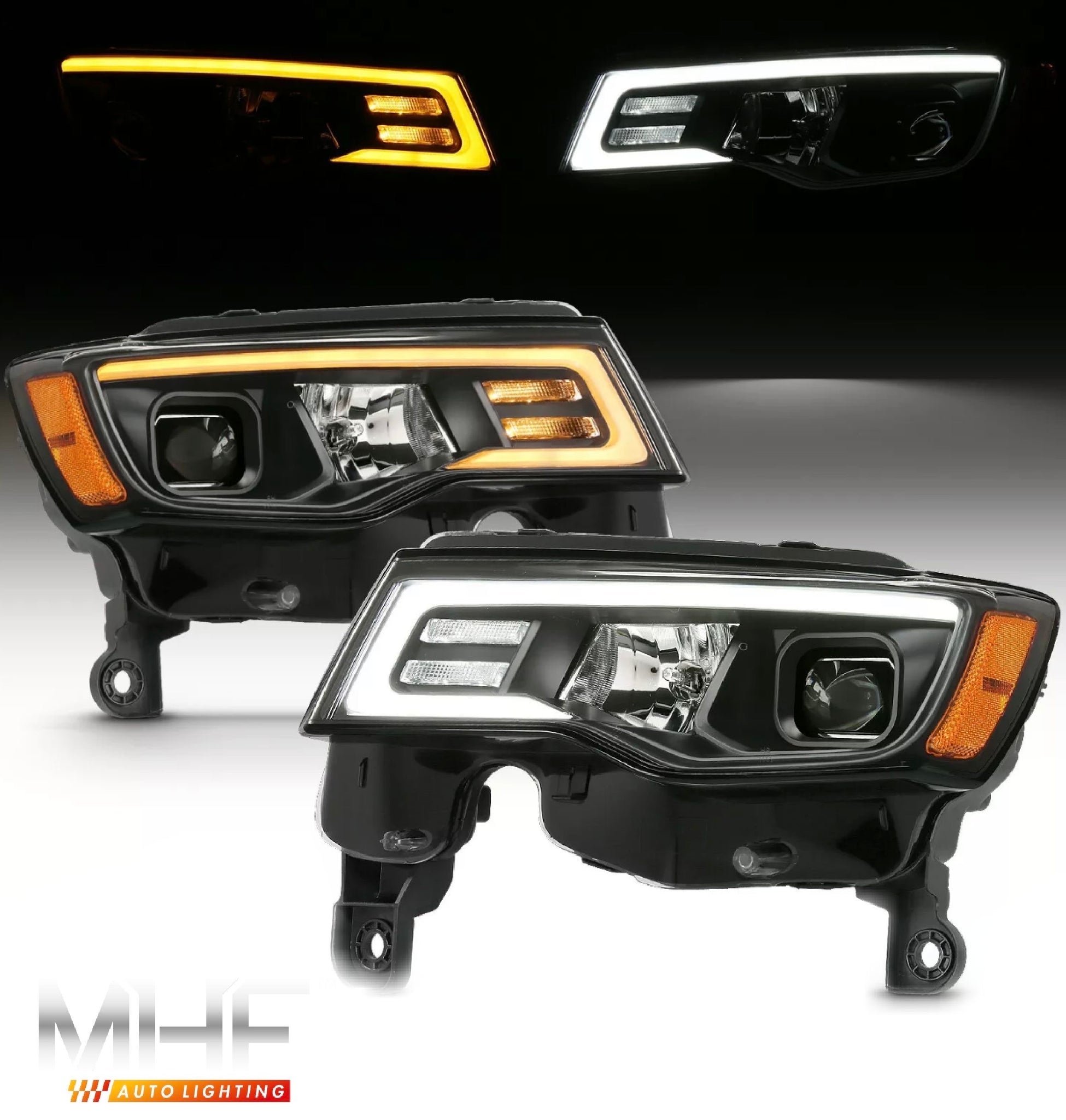 2017-2020 Jeep Grand Cherokee Black Projector switchback headlights