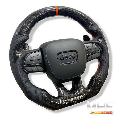 "2018-2021 Carbon ""Track Series"" Orange Accent Forged TrackHawk Steering Wheel"