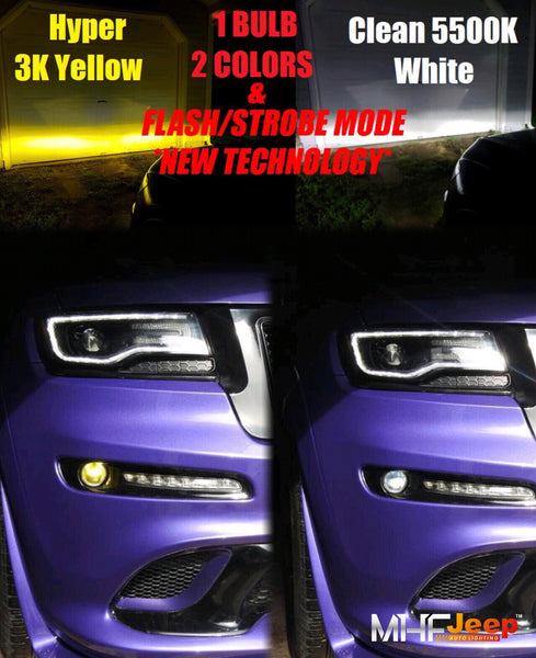 Dual Color LED Fog [1 bulb 2 colors] Choose between a Clean White & Hyper 3000k Yellow