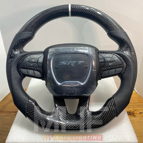 2014-2020 Jeep/ Dodge Carbon White Theme Steering Wheel