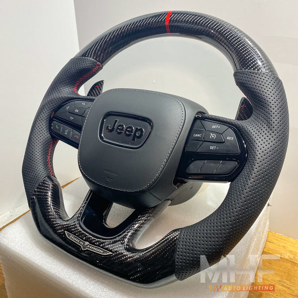 "2018-2020 Carbon ""Black Gloss"" Accent TrackHawk Steering Wheel"