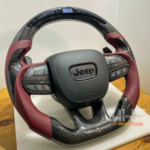 "2018-2020 Carbon ""Track Series"" Dark Rose Accent TrackHawk Steering Wheel"
