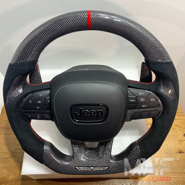 "2018-2020 Carbon ""Silver Carbon"" Red Accent TrackHawk Steering Wheel"