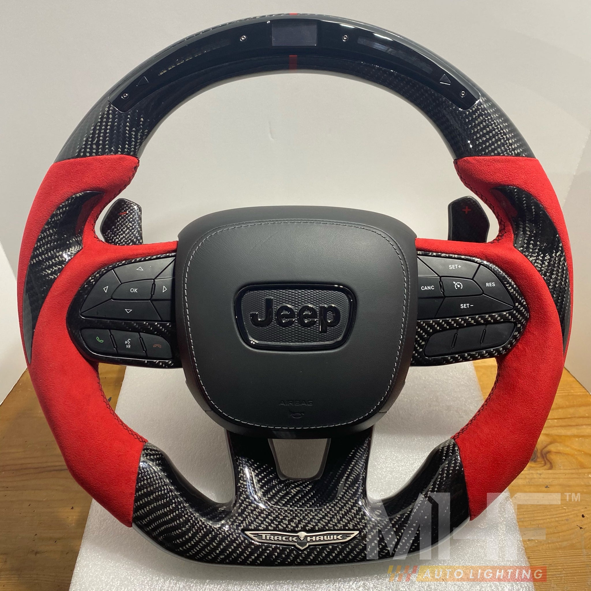"2018-2020 Carbon ""Track Series"" Red Accent TrackHawk Steering Wheel"