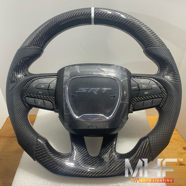 2014-2020 Jeep/ Dodge Carbon White Accent Steering Wheel