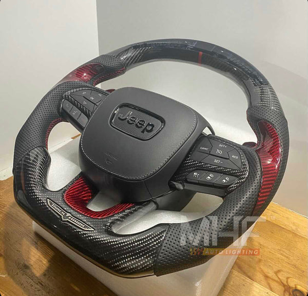 "2018-2020 Carbon ""Track Series"" Red Carbon Accent TrackHawk Steering Wheel"