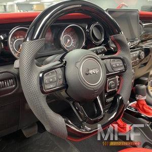 "2018-2021 JL ""Paino Black / Red"" Jeep Wrangler Steering Wheel"