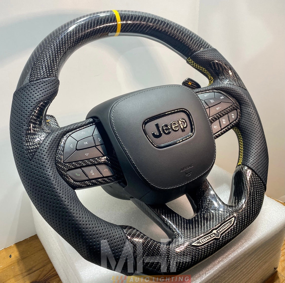 "2018-2020 Carbon ""Track Series"" Yellow Accent TrackHawk Steering Wheel"