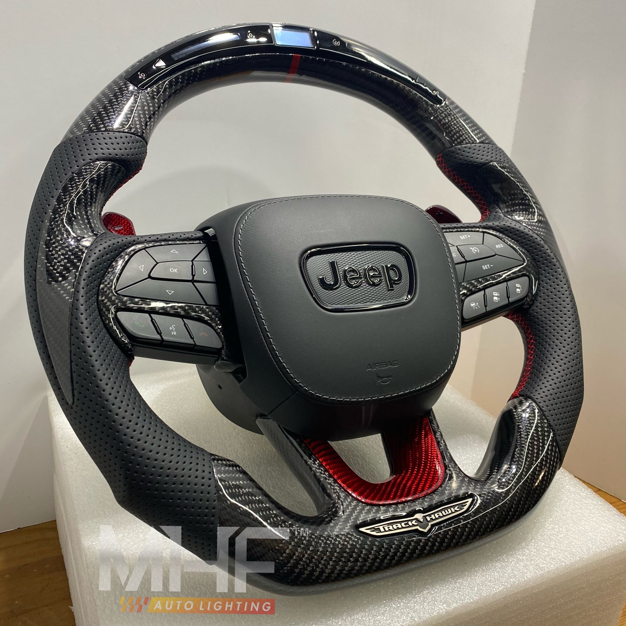 "2018-2021 Carbon ""Track Series"" Red Carbon Accent TrackHawk Steering Wheel"