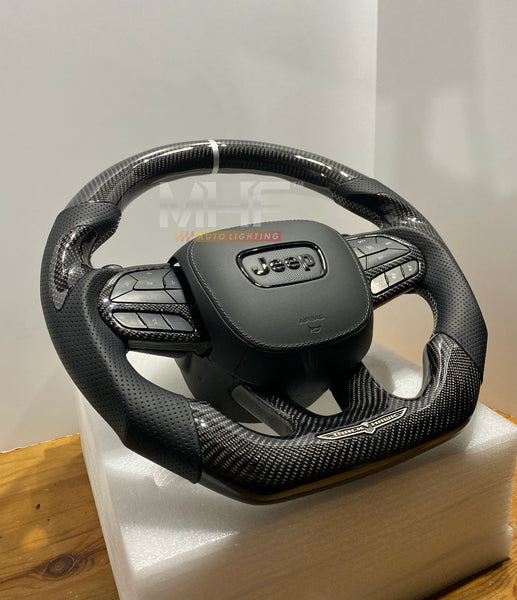"2018-2020 Carbon ""Track Series"" Silver Accent TrackHawk Steering Wheel"