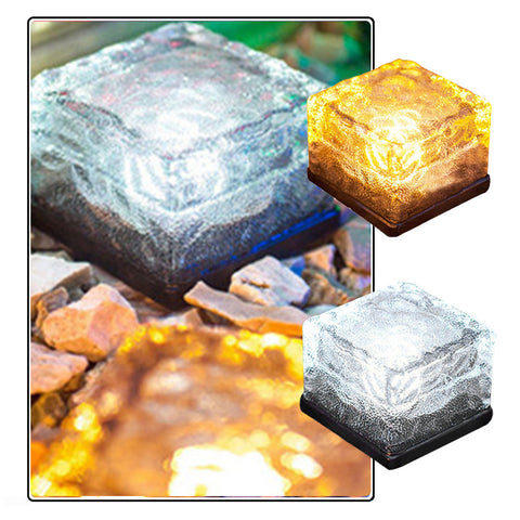 Solar Powered Glass Brick Path Light