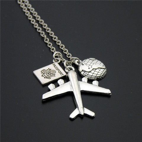 Passport & Earth & Airplane Necklace