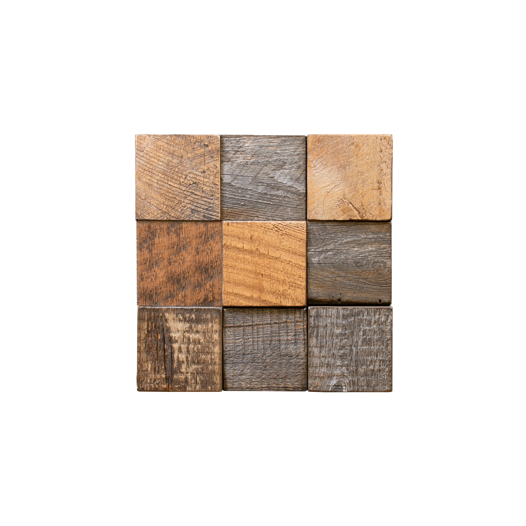 Buckskin Grid Wood Mosaic Tile