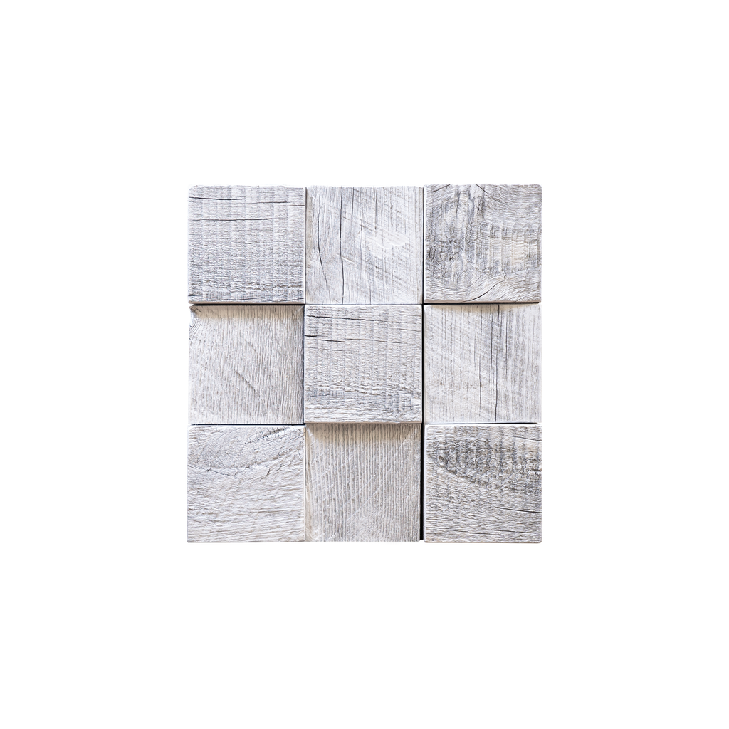 Glacier Grid Wood Tile Mosaic