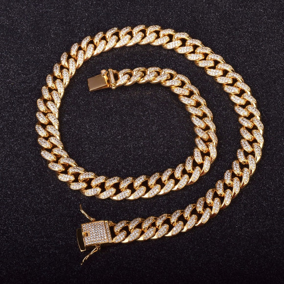 12mm Iced Out GOLD Cuban Necklace Chain *NEW*