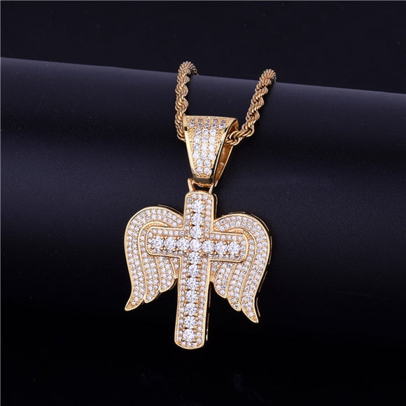 Iced Out Religious Cross with Wings Necklace & Pendant *NEW*