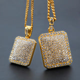 Gold Square Dog Tag Pendant