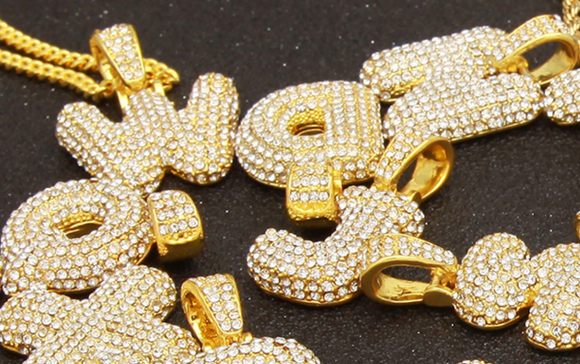 Yellow Gold Bubble Letters Iced out *NEW*