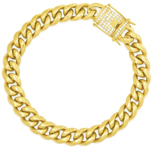 ♦ Diamond Clasp Cuban Dual Link Chain Bracelet 12mm