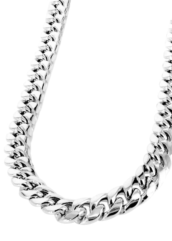 Gold Chain - Mens Hollow Miami Cuban Link Chain White Gold