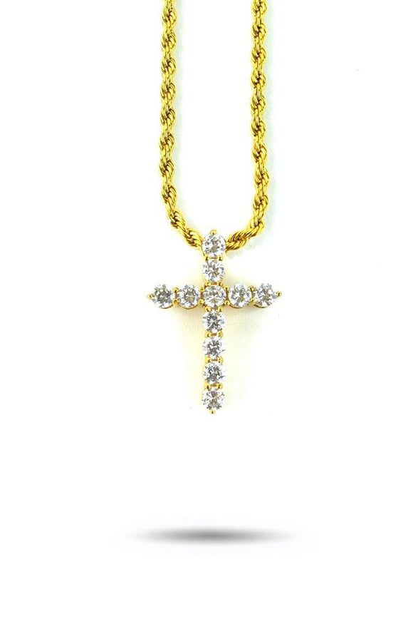 MICRO DIAMOND CROSS NECKLACE.