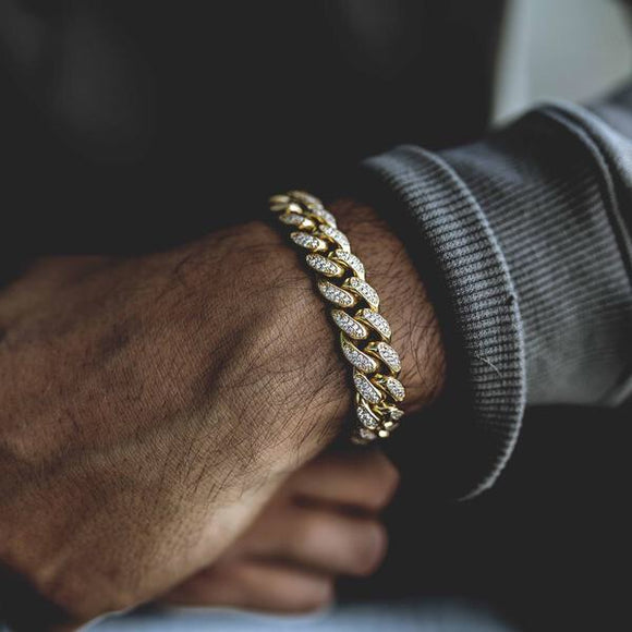 Gold Cz Diamond Cuban Link Bracelet in Yellow Gold