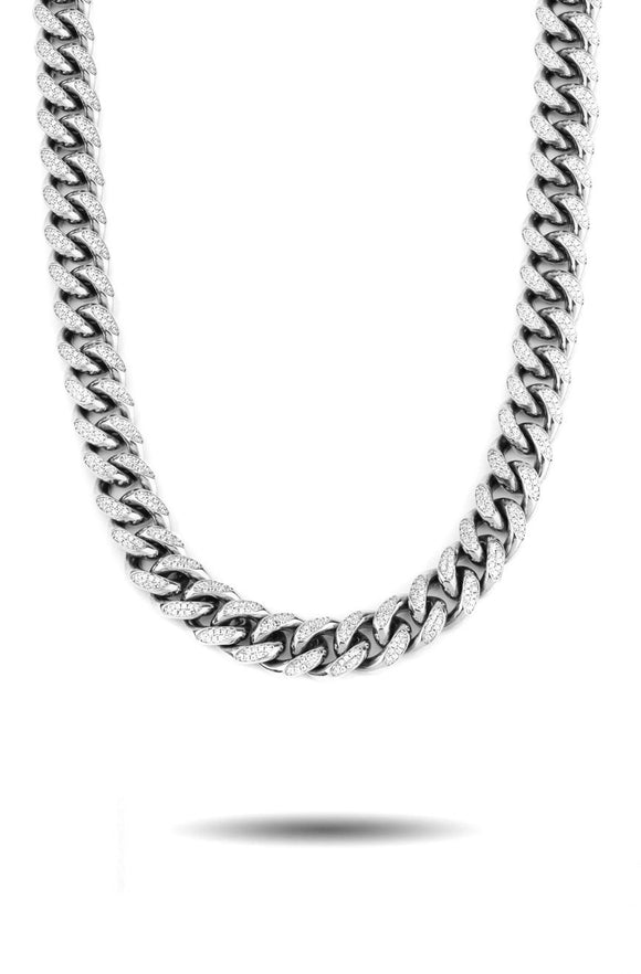 10MM DIAMOND CUBAN LINK CHAIN IN WHITE GOLD