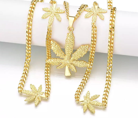 420 Pot Leaf Gold & Sliver Chain.