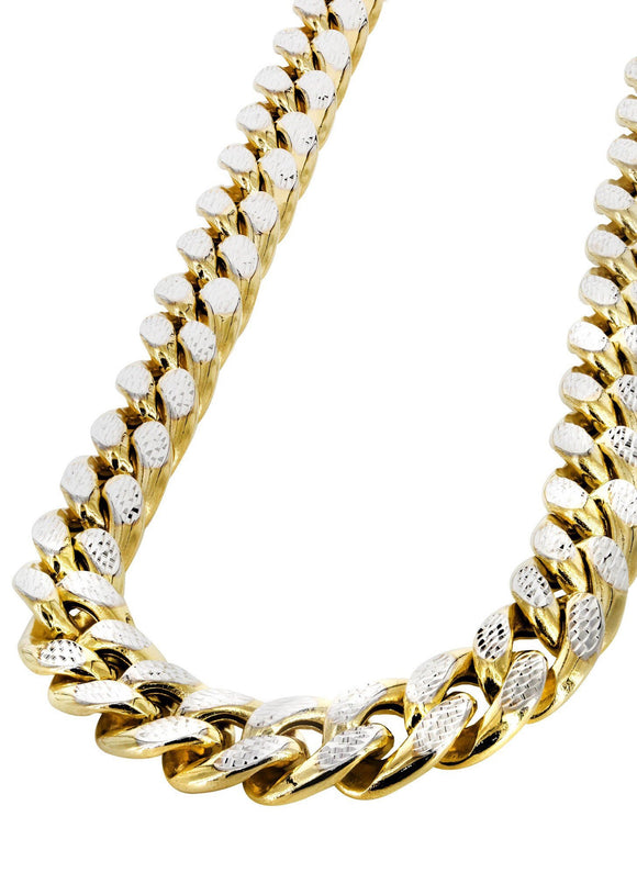 Gold Chain - Mens Hollow Diamond Cut Miami Cuban Link Chain Gold