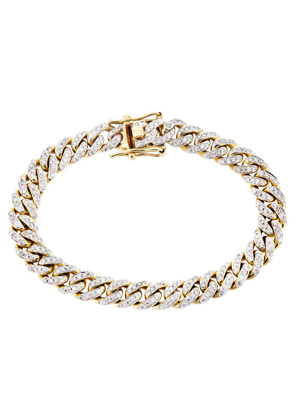 Iced Out Cz Diamond Cuban Link Bracelet 9mm