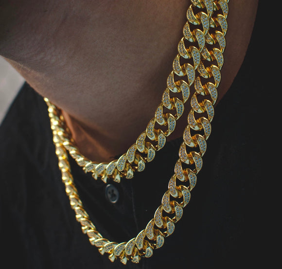 Diamond Cuban Link Choker in Yellow Gold *NEW*