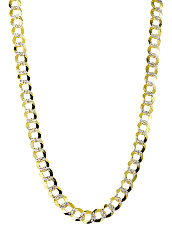 Hollow Diamond Cut Mens Cuban Link Chain yellow Gold