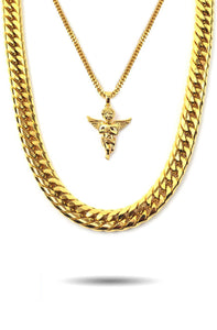 MICRO ANGEL PIECE & CUBAN LINK SET
