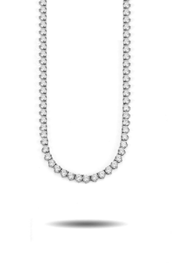 4MM DIAMOND 3-PROINNGED TENNIS CHAIN  WHITE GOLD *NEW*