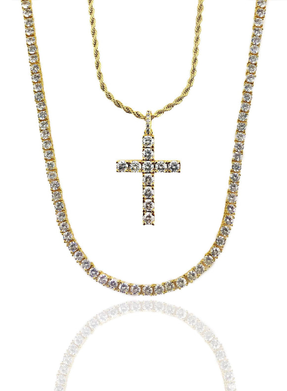 DIAMOND TENNIS X CROSS SET - GOLD *NEW*