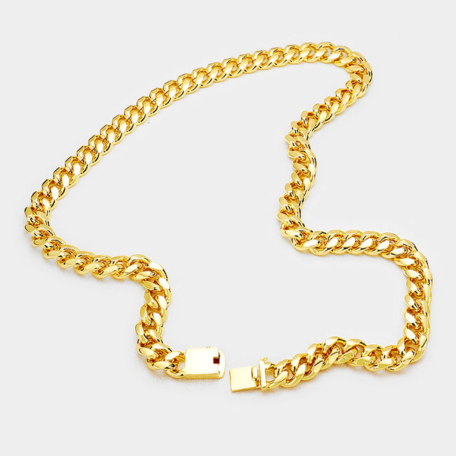 140 14K Gold Plated Curb Chain Necklace Final Sale
