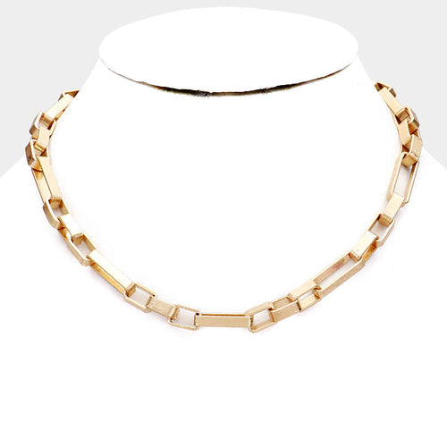 1573 Worn Gold Square Chain Necklace FInal Sale