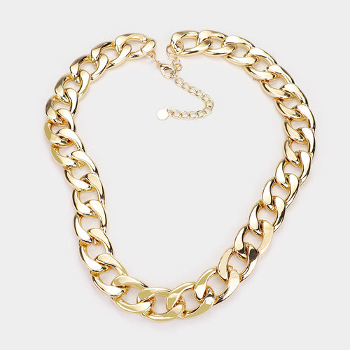 7026 Chunky Gold Chain Link Necklace Final Sale