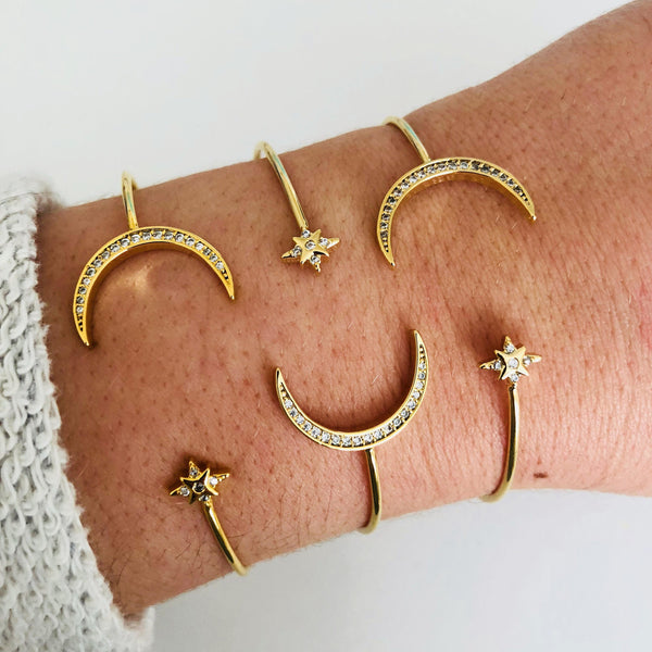 Pave Moon Bangle 054 Final Sale