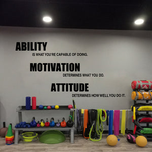 Gym wall decals vinyl poster , Motivational Fitness Quotes Wall Stickers - Ability, Motivation, Attitude Gym Decor