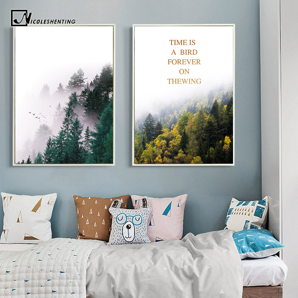 Nordic style forest trees nature poster print motivational quotes minimalist wall art canvas painting modern home