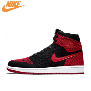 Nike Air Jordan 1 Flyknit AJ1 Men's Breathable Original New Arrival Official Basketball Shoes Sports Sneakers 919704-001